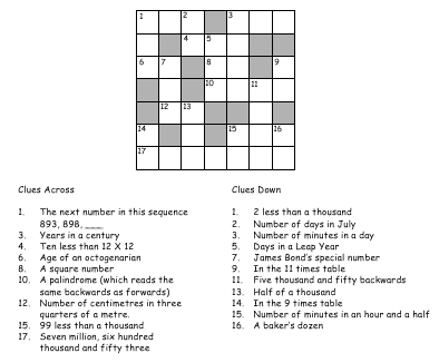 Number Crossword Puzzles Natural Maths